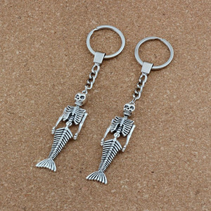 10pcs  lots Keychain Vintage Mermaid Body Skull Skeleton Shaped Charms Pendants Key Ring Travel Protection DIY Accessories A-494f