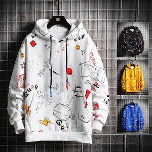 Мужчины Мода Повседневная Осень Harajuku Одежда с капюшоном Мужской толстовки Хип-хоп Мужская Толстовка Японская улица M-5XL