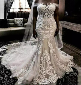 2021 Luxury Mermaid Wedding Dresses Illusion Satin Lace Appliques Off Shoulder Plus Size Sweep Train Wedding Dress Formal Bridal Gowns