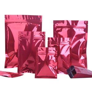 Оптовая 100шт Глянцевый красный алюминиевой фольги Ziplock упаковки Сумки Сумка Metallic Red Фольга Zipper пакет порошок Сахар подарочные пакеты