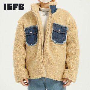 IEFB IEFB Herrenkleidung Hohe Qualität Übergroßen Lammpelzmantel Herren Denim Pocket Design Patchwork Paar Baumwolle gepolsterte Kleidung 50441
