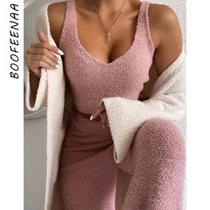 BOOFEENAA Cozy Plüsch Pullover Zweiteiler Crop Top und Hosen-Anzug Lässige 2 Stück Outfits für Damen Lounge Wear C97-FD46 201007