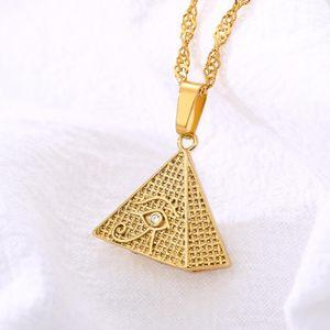 Нержавеющая сталь египетская пирамида циркон инкрустация Demon Eye Золотое ожерелье Horus Глаз Мужские украшения Геометрический треугольник Подвеска