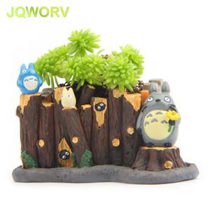 JQWORV Modern Cartoon Succulent Planter Pot Resin Creative Crafts Cute Totoro Flower Pot Home Decorations Vase mini Garden pots Y200723
