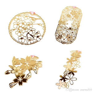 Creative Cherry Blossoms Hollow Out Metal Bookmark Cute Golden Bookmarks Paper Clip Office School Students Mini Bookmarks DH1451 T03