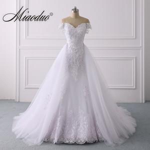2 in 1 Mermaid Wedding Dress 2020 Beaded Appliques Lace vestito da sposa Plus Size Vestidos de Noiva with Detachable Train Q1113