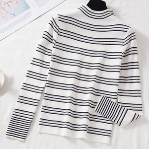 Long Sleeve Knitted Warm Sweater Shirt Women Pullover 2020 Korean Oversize O Neck Top Elasticity Slim Fit Striped Casual Clothes