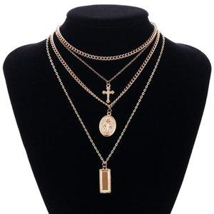 Göttin Catholic Choker Halskette Multilayer Kreuz Jungfrau Maria Anhänger Kette Christian Neckalce Collier Schmuck