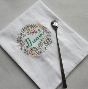 Embroidered Napkins Letter Cotton Tea Towels Absorbent Table Napkins Kitchen Use Handkerchief Boutique Wedding Cloth 5 Designs OWF1196