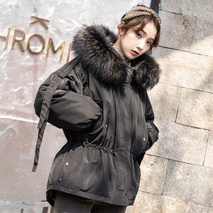 Leiouna épais Slim coton Taille Plus ample mode coréenne manteau d'hiver Femmes Femme chaud plume Parka canard vêtement 201015