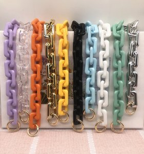 High Quality Golden Silver Chain Handle Shoulder Bag Key Chain Thick light acrylic chain