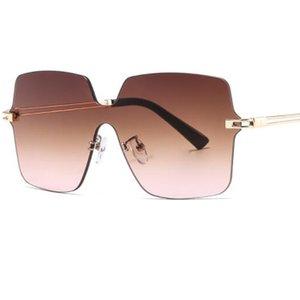 High Fashion Grey Sunglasses Women Trimmed 2020 Polygonal Square Frameless Oversize Glasses Sun Men Goggles Quality New UV400 Ixhbq