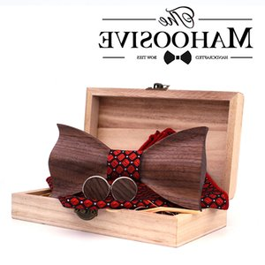 Paisley 3D Walnut Wooden Wood Bow Tie Silk Handkerchief Cufflink Brooch Set For Mens Wedding Novelty Accessory Ties and Box