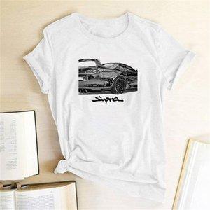 Araba Yarış Ptinting Kadın T-shirt Kısa Kollu Rahat Yaz T-shirt Femme Kadınlar 2021 Bayanlar Mujer Camisetas Için Giysileri Tops