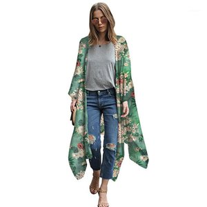 S-5XL Plus Size Pareo Women Floral Leopard Print Chiffon Kimono Cardigan Asymmetric Boho Loose Bikini Cover Up Beachwear 20191