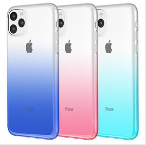 2020 New Transparent TPU Shockproof Gradient Dual Color Designer Phone Case for iPhone 11 Pro Max XR XS MAX 8 Plus S10 Plus Note 10 Pro