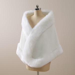 США Stock Winter Wedding Coat Bridal искусственного меха Обертывания Теплый платков Верхняя одежда корейских женщин типа куртки выпускного вечера партии CPA3308