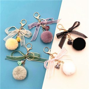 Elegant Lace Bow-Knot Round Ball Keychain for Women Girl Cute Pompom Faux Mink Fur Key Chain Bag Charms Keyring Party Gift