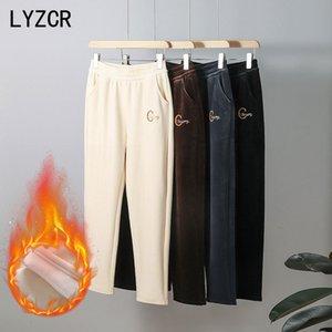 Lyzcr Feminino 2020 solta Harem Veet Quente para Mulheres Ankle Comprimento Calças de Woolen Calças Clássicas