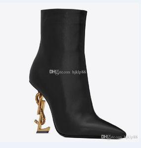 Yeni Bahar Güz Siyah Gerçek deri Düğün Gelin Ayakkabıları OPYUM Yılan Topuklar Sivri Burun Mektupları Yüksek Topuklar Bayanlar Boots Tasarımcı Dhgate pompaları