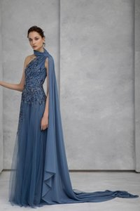 Tony Ward 2021 Evening Dresses Halter A Line Tulle Sequined Fairy Prom Dress Designer Sweep Train mother of bride dresses Robes De Soirée