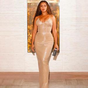 White Day celebrity Beyonce scintillanti paillettes bretelle, divisi stretto vestito lungo sexy vestito da partito stretto signore