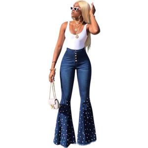 Mode élastique taille haute en denim Pantalons Flare 2020 femmes Diamonds Jeans Pantalons Lady Casual Pantalons Flare et évasé w912
