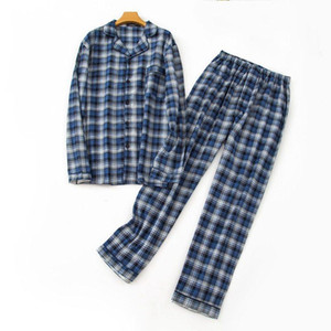 Autumn Male plus size pijamas Men Casual Plaid Pajamas sets Men Turn-down collar shirt & pants 100% Cotton sleepwear suit