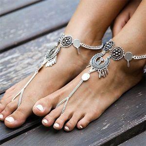 Anklet di fiori cavi Carving acque goccia di goccia nappe catena catena in argento placcatura in lega delle donne anklets gioielli di dichiarazione 2 21SY L2