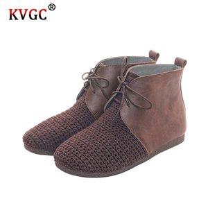 l'automne et l'hiver KVGC nouveau style dames mode en cuir de haute qualité coton unique et lin style rétro supérieure bottines marron
