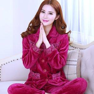 Hiver Nouveau Femmes Flanelle Pyjama Set chaud épais 2PCS de nuit molleton Pyjama Costume Set lâche sommeil Porter Home Casual