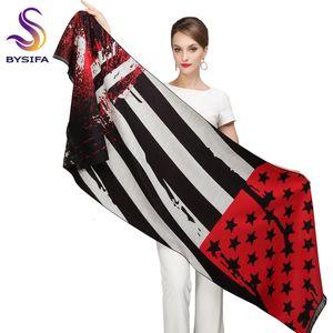 [bysifa] Winter Women Red Black Pashmina Fashion Stars Striped Thick Scarf Shawl Cotton Viscose Tassel Long Scarves Cape