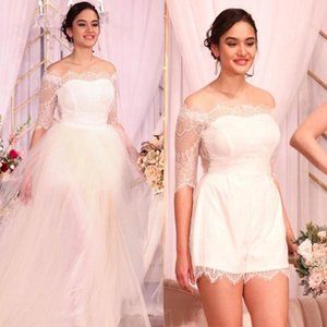 2021 Cheap A Line Wedding Dresses 1 2 Sleeves Elegant Off the Shoulder Scalloped Detachable Tulle Skirt Country Wedding Gown Vestidos