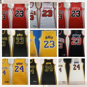 Mulheres Baskeball LeBron James 23 Jerseys costurado mulheres menina James Saia Baskeball Amarelo Branco Preto Vermelho Bryant