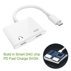 Type C to Dual USB C Audio Adapter Support Calling White Color Simple Design