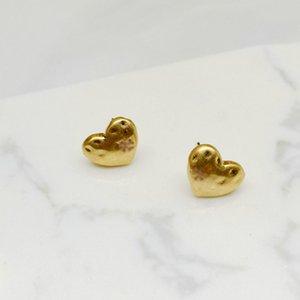 Orecchini in stile cuore placcato oro vera oro popolare marchio vendita calda lettere orecchini