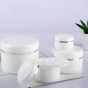 20/30 / 50/100/150 / 200g Boş Beyaz Taşınabilir Şişe Doldurulabilir Plastik Kozmetik Krem Kavanoz İç Astar Ile