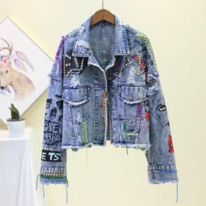 Fall New Women's Denim Jacket Coat 2020 Jean Jackets Women Coats Female Denim Jacket Graffiti Rivet Girl Short Outerwear