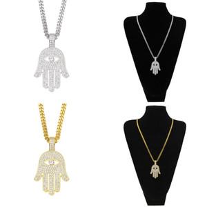 Gelado fora de cobre hamsa mão pingente colar cubic zircon fatima colar de palma hip hop homens mulheres jóias gota 285 N2