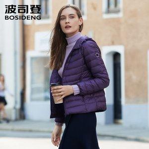 BOSIDEENG Neue Kollektion frühe Winter-Daunenjacke Frauen mit Kapuze hinunter Mantel Ultraleicht wasserdichtes Übergröße B90131014B 201030