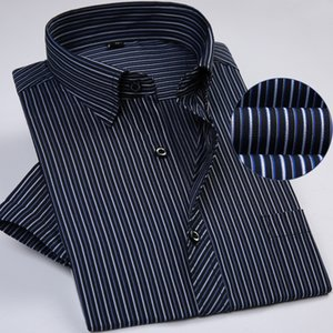 summer short sleeve striped regular fit non-iron easy care business men shirts no fade no shrink with chest pocket 201020