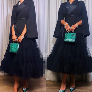 Black Modern Evening Dresses 2021 Long Sleeves Jacket Tulle Tea Length Custom Made Plus Size Prom Party Gowns Formal Occasion Wear vestidos