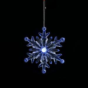 LED iluminado Natal plástico ornamento de floco de neve criativo pendurado sparkling snowflake ornamento fadas jardim árvore ano novo gwe4016
