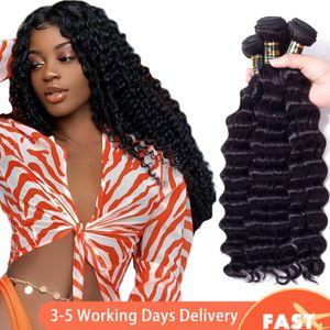 Brazilian Virgin Hair Loose Deep Wave Bundles Remy Human Hair Weave Peruvian Malaysian Indian Cambodian Brazilian Human Hair Bundles