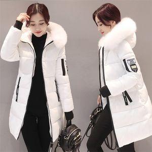 StainLizard Kış Ceket Kadınlar Sıcak Rahat Kapüşonlu Uzun Parkas Kadın Ceket Streetwear Pamuk Beyaz Kadın Ceket Kaban Dış Giyim Yeni LJ201020