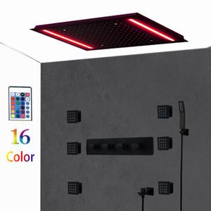Luxury Black Shower Set Concealed Ceiling LED Rain shower head Set Massage 2 inch Body Spray Jets remote control led color change Big shower