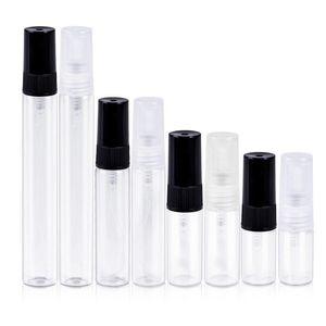 500 stücke 2ml 3ml 5ml 10 ml Glas Parfüm Flaschen Klar Glas Spray Flaschen Leerer Duft Verpackung Fläschchen mit Schwarzweiß