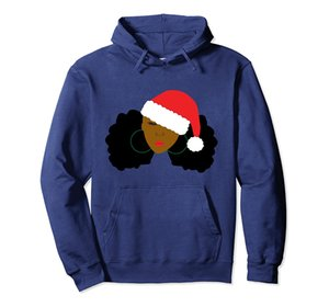 Afro Puff Girl Santa Hat Natural Hair Christmas Hoodie Unisex Size S-5XL with Color Black Grey Navy Royal Blue Dark Heather