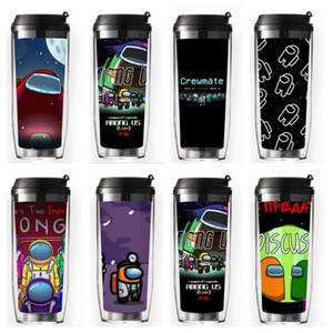 14 colores juego entre nosotros Tazas de botellas de agua Dibujos animados de doble capa aislamiento de plástico Copa de paja Taza portátil con tapa de sello CUPAS CURVADAS E121709