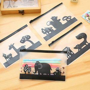 Wholesale-Kawaii Clear Cute Animal PVC Pen Bag Pencil Case Storage School Supplies Ctreative Stationery Cosmetic Case Makeup Phone Bag U9WY#